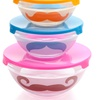 5-Piece Glass Bowl Set with Mustache Design