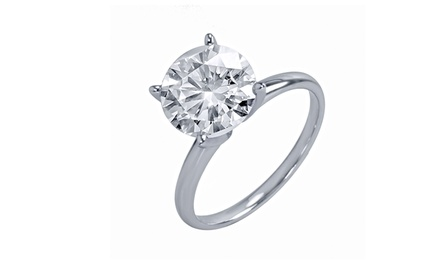 4.00 Carat Certified Diamond Solitaire Ring in 14K Gold