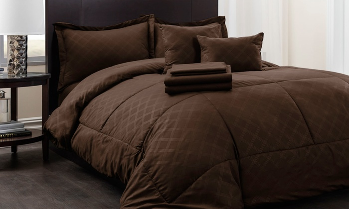 Hotel New York Plaid Reversible Bed In A Bag Comforter Set (10 ...