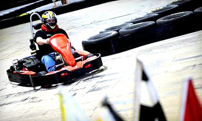 Chicago Race Factory - Southwest Side: $30 for Three Indoor Go-Kart Races and a Head Sock at Chicago Race Factory in Bedford Park (Up to $62 Value)