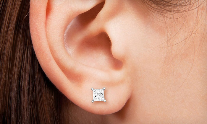 1 4 Or 2 Carat Princess Cut Diamond Stud Earrings In 14 Karat White Gold Up To 53 Off Free Shipping And Returns