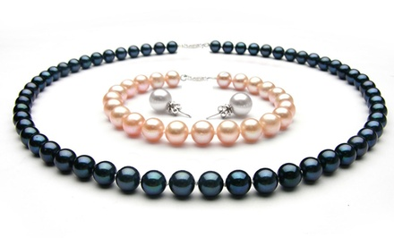 3-Piece Pearl Necklace, Earrings, and Bracelet Set