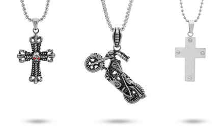 Men's Motorcycle or Cross Pendant in Stainless Steel