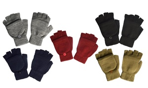 Fingerless Knit Gloves with Flip Cover Set (2-Pack)