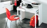 Mesa consola con acabado en blanco brillo