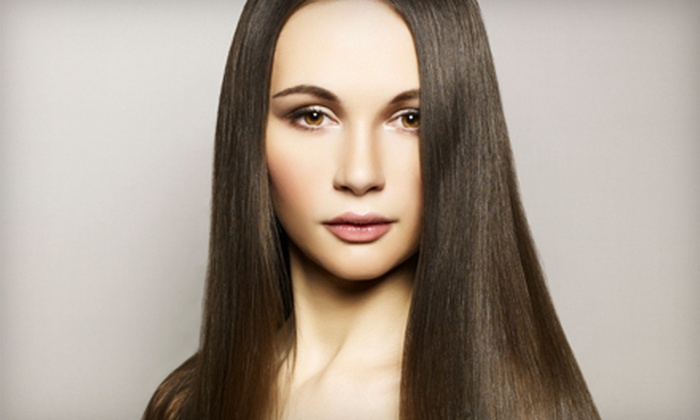 Pure Glo Aveda Salon - Pure Glo Salon: Color-and-Haircut Package or Keratin Treatment at Pure Glo Aveda Salon (Up to 62% Off). Two Options Available.