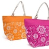 Floral Print Straw Tote Bags