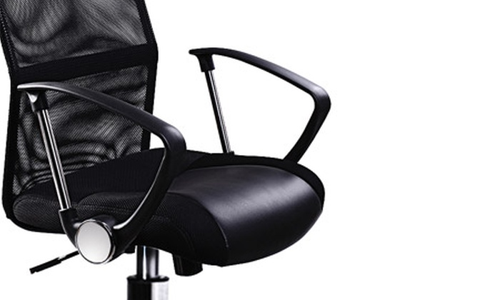 fauteuil de bureau noir inclinable en simili cuir groupon shopping. Black Bedroom Furniture Sets. Home Design Ideas