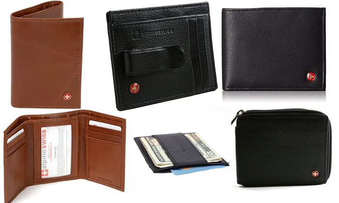 cheap designer wallets mens m6v5  Alpine Swiss Men's Genuine Leather Wallets, Money Clips, and RFID-Blocking  Wallets: