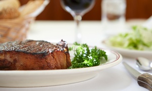 Martini's On Main: Angus New York–Strip Steak Meals with Wine for Two or Four at Martini's On Main (Up to 45% Off)