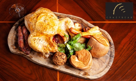 Three Course Sunday Lunch and Premium Champagne at The Crazy Bear £29.50