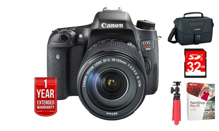 Canon EOS Rebel T6s 24.2MP 1080p Full-HD DSLR Camera with EF-S 18-135mm IS STM Lens Kit and 32GB Memory-Card Bundle