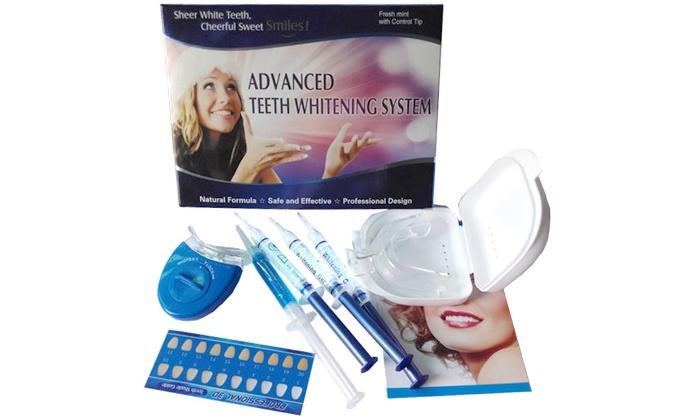 ס תקשורת - Merchandising (IL): ערכה ביתית להלבנת שיניים באמצעות מכשיר סד עם תאורת לד כחולה וג'ל מיוחד להלבנה