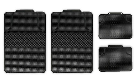 4-Piece Anti-Slip Checker-Style All-Weather Auto Floor Mat Set