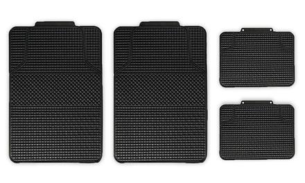 4-Piece Anti-Slip Checker-Style All-Weather Auto Floor Mat Set