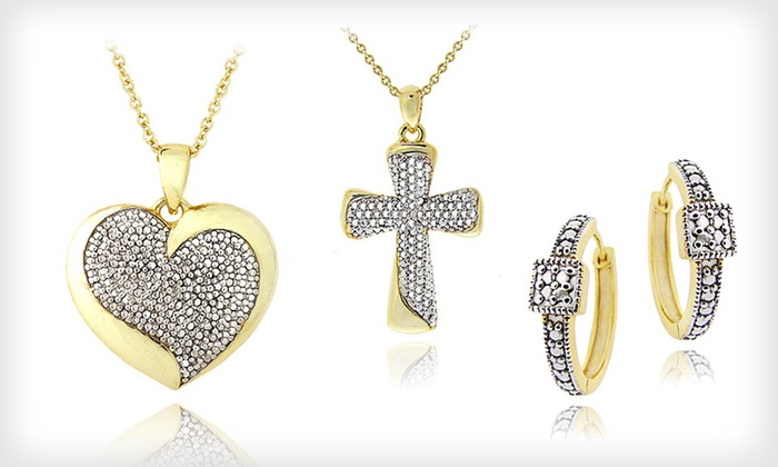 Diamond-Accent Necklace or Earrings: $19 for Diamond-Accent Necklace or Earrings ($49.99 List Price). Three Styles Available. Free Shipping and Free Returns.