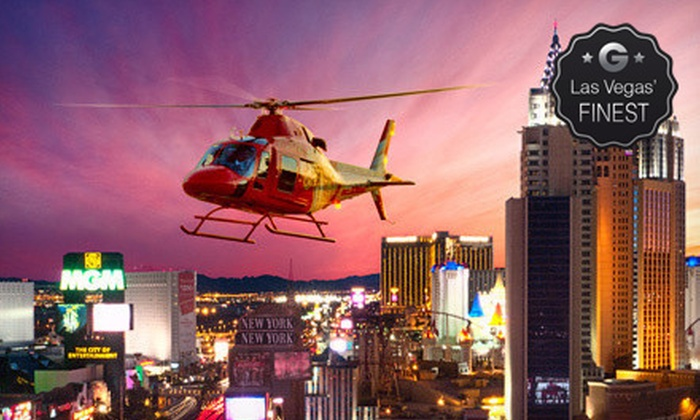 Heli USA Airways - Paradise: Helicopter Night Tour Over Las Vegas Strip for Two or Four with Champagne from Heli USA Airways (Up to 52% Off)