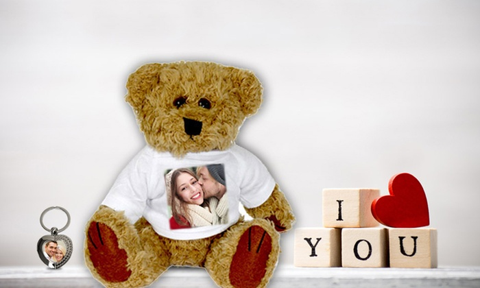 Personalized Photo Teddy Bear with Heart-Shaped Photo Key Ring: Personalized Photo Teddy Bear with Heart-Shaped Photo Key Ring