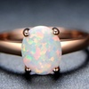 Fire Opal Solitaire Ring in 18K Rose Gold Plating by Gembassy