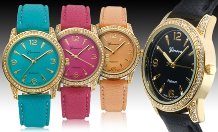 Geneva Platinum Women's Jubilee Watch with Swarovski Crystals
