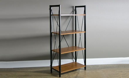 Contemporary Desk and Coordinating Shelving Units