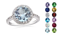 GROUPON: Round-Cut Gemstone & Cubic Zirconia Sterling Silver Ring... Round-Cut Gemstone & Cubic Zirconia Sterling Silver Rings