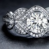 Cubic Zirconia Floral Engagement Bridal Ring by Hobart