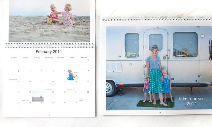 "Picaboo: One or Two 11""x9"" Custom Photo Calendars from Picaboo (Up to 54% Off)"