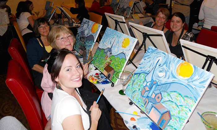 Wine and Canvas - Multiple Locations: Wine and Painting Class for One or Two at Wine and Canvas (Up to 49% Off)