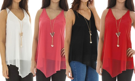 Chiffon Vest Top with Pendant Necklace