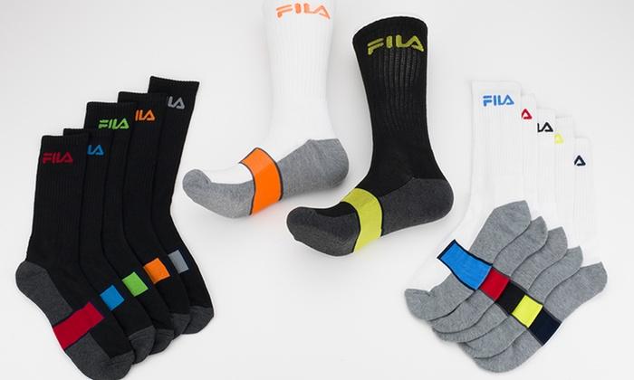 Men's Fila 12-Packs Crews: Men's Fila Crew Socks 12-Pack. Multiple Options Available. Free Shipping.