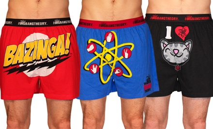 Three-Pack of Big Bang Theory, My Little Pony, or Adventure Time Boxers.