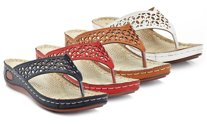 843dd2d6722 Lady Godiva Women s Laser-Cut Comfort Wedge Thong Sandals