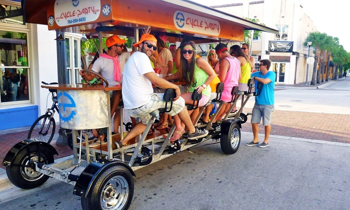 Cycle Party - Downtown Fort Lauderdale: Two-Hour Pub Crawl for One or Two Seats on a 15-Person Bike from Cycle Party (62% Off). Two Options Available.