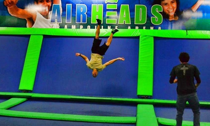 AirHeads Trampoline Arena - Multiple Locations: Unlimited Trampoline Jumping for Two or Four at AirHeads Trampoline Arena (Up to 44% Off)