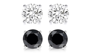 4.00 Cttw Black And White Stud Earrings 2-piece Set With Swarovski Elements In Sterling Silver