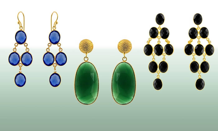 18-Karat-Gold-Plated Gemstone Earrings: 18-Karat Gold Plated Gemstone Earrings (Up to 75% Off). Multiple Styles Available. Free Shipping and Returns.