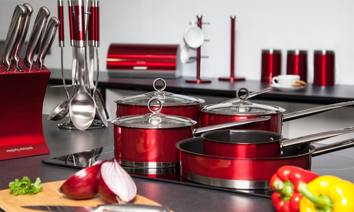 21 piece kitchen bundle groupon goods for Kitchen set red