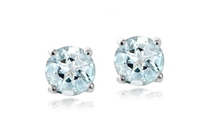 1.00 Cttw Genuine Aquamarine Stud Earrings In Sterling Silver