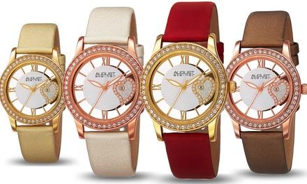 August Steiner Ladies Crystal Heart Strap Watch
