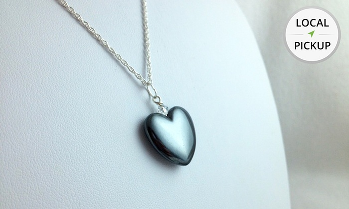 Generation Gems - Fenton: Hematite Heart-Pendant Necklace with Free Engraving. Pick Up in Store at Generation Gems.