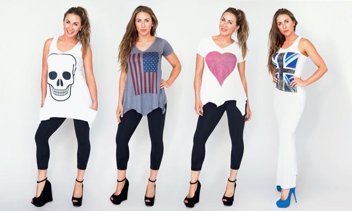 Women's Graphic Tops and Dresses: Women's Graphic Tops and Dresses (Up to 77% Off). Multiple Styles Available. Free Shipping and Returns.