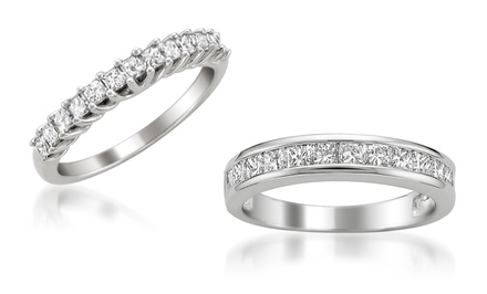 groupon daily deal - 3/4 CTTW Princess-Cut Diamond Wedding Band in 14-Karat White Gold. Free Returns.