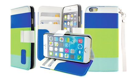 Tricolor Wallet Case for Apple iPhone 4/4s, 5c, 6, or Samsung Galaxy S5 from $6.99–$7.99