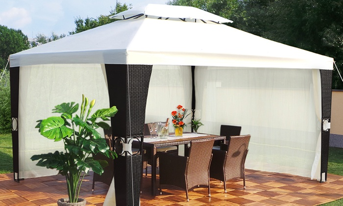 luxus rattan pavillon 3 x 4 meter groupon goods. Black Bedroom Furniture Sets. Home Design Ideas