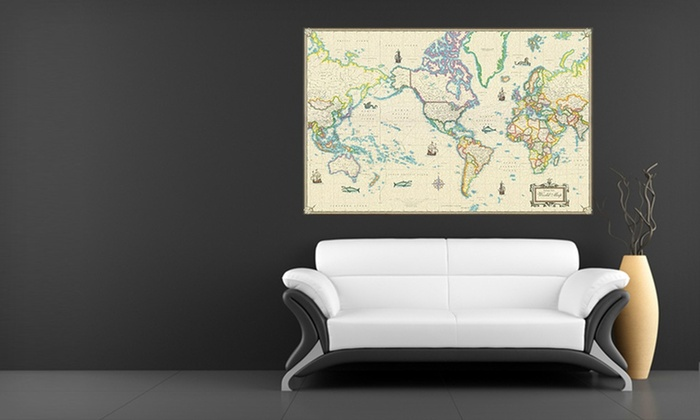 Canvas Giclee Wall Maps: Framed or Unframed Canvas Giclee Wall Maps (Up to 84% Off). Eight Styles Available. Free Returns.