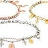 Sterling Silver Moon-Cut Bead Cross and Medallion Charm Bracelets