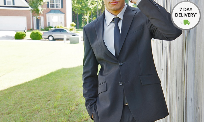 Status Menswear Two-Piece Suit and Tie: Status Menswear Two-Piece Suit and Tie. Multiple Sizes Available. Free Shipping and Returns.