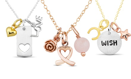 Sterling Silver 18-Karat Gold-Plated Inspirational Necklaces. Multiple Styles Available.