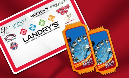 eGift Card to Landry's Restaurants, Plus Two All-Day Ride Passes to Galveston Pleasure Pier or Kemah Boardwalk